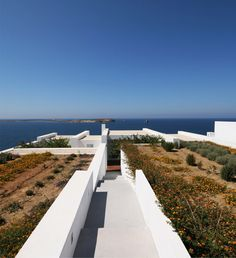 rooftop view from a seaside summer home in greece