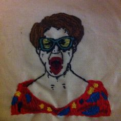 Screaming Lady by Katie Ryan. Embroidery, art, craft, weird.