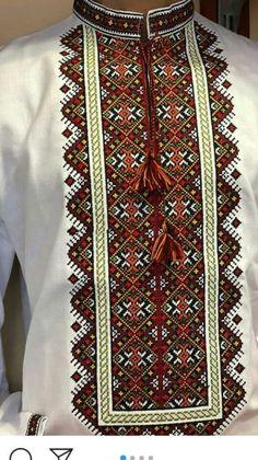 Cross Stitch Designs, Cross Stitch Patterns, Cross Stitch Embroidery, Embroidery Patterns, Afghan Clothes, Folk Fashion, Textiles, Types Of Shirts, Bohemian Rug