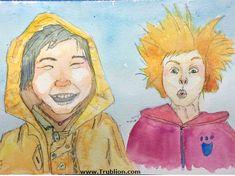 Dessin et Aquarelle en vidéo accélérée, réalisation d'un portrait d'enfants riants Street Art, Film D'animation, Crayon, Photos, Illustration, Painting, India Ink, Watercolor Drawing, Stencil