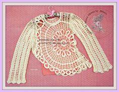crochet home: Crochet blouse for girls Crochet Skirts, Crochet Cardigan, Crochet Clothes, Crochet Lace, Crochet Instructions, Crochet Diagram, Crochet Patterns, Crochet Gratis, Doll Dress Patterns