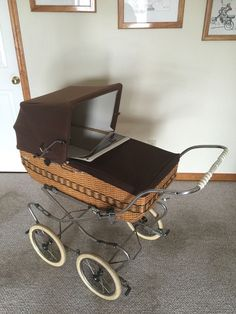 Antique Replica Perego Wicker Baby Carriage