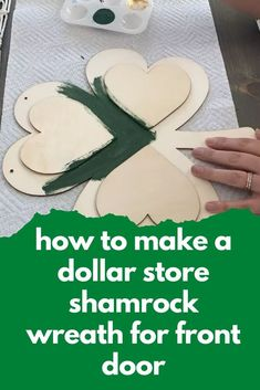 Dollar Tree currently has these MDF shamrock shapes in stock and I knew it would be perfect for a St. Patrick's Day wreath! This project was super simple, cheap and took less than 30 minutes to put together. Easy and Quick dollar store St. Patricks wreath idea for front door DIY. Holiday Decorating, Decorating Ideas, Craft Ideas, Growing Sweet Peas, Craftsman Style Doors, St Patricks Day Crafts For Kids, Drop Cloth Curtains, Diy Wallpaper, Diy Chandelier