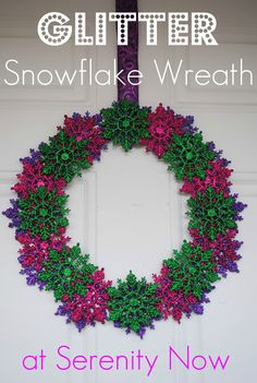 Serenity Now: Glitter Snowflake Wreath (Leftover Ornaments)
