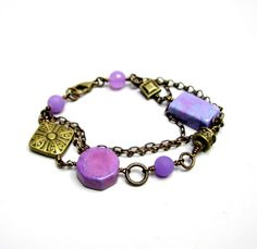 Purple beaded bracelet set by beadstreetgallery on Etsy