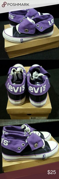 """Levi's """"Horse"""" Sneaker Black with purple interior. White sole. Like new. Original packaging. Only worn once to a Laker game to match my purple jersey! Levi's Shoes Sneakers"""