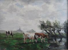 Grazing Cows along the IJssel River by E. Hyatt 2016 30x40cm SOLD. Grazing Cow, Cows, Original Art, Paintings, River, Landscape, Portrait, Headshot Photography, Painting