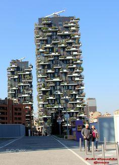 """O condomínio Bosco Verticale. - Suas duas torres, com 80 e 112 metros de altura, se assemelham a gigantescos troncos de árvores. E seus apartamentos surgem como """"raízes"""" para os ramos e os galhos, em um projeto que vem sendo elogiado por proporcionar uma espécie de simbiose entre o homem e a natureza, num ambiente hostil ao verde, ou seja, as metrópoles."""