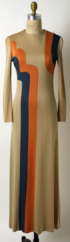 Evening dress Designer: John Kloss (American, Department Store: Henri Bendel (American, founded Date: 1967 Culture: American Medium: rayon 60 Fashion, Fashion History, Vintage Fashion, Fashion Design, Evening Outfits, Evening Dresses, Trendy Dresses, Blue Dresses, Mode Vintage