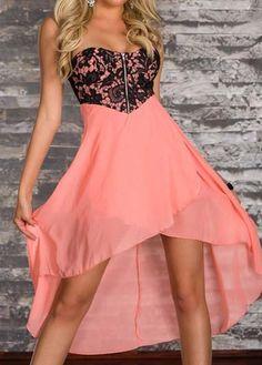 wholesale Vogue Flower Print High Low Dress with Zipper