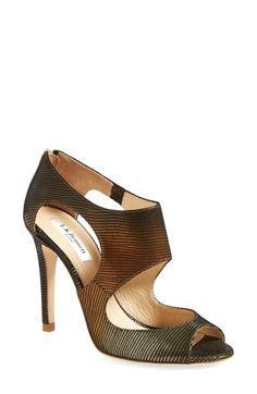 L.K. Bennett 'Alma' Metallic Lizard Print Leather Sandal (Women) available at #Nordstrom