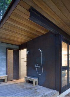 Outdoor shower at entrance - Olsen Kundig Architects