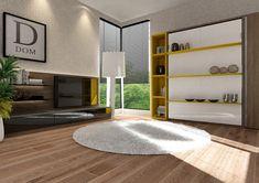ClickBed Book to łóżko chowane w szafie z trzema półkami np. na książki, które zachowują poziom podczas rozkładania łóżka. Dzięki temu pozostawione na półkach przedmioty mogą pozostać na półkach i nie trzeba ich sprzątać z półek podczas każdorazowego otwierania łóżka. Bed Wall, Murphy Bed, Double Beds, Bed Frame, Bookshelves, Armoire, Cabinet, Living Room, Interior