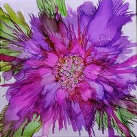 Purple Plume Alcohol Ink Painting on Ceramic Tile with Black Frame or Stand