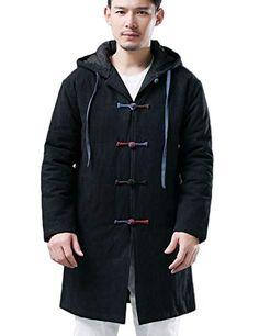 Wofupowga Mens Faux Fur Lined Stand Collar Fleece Business Wool-Blend Jacket Anoraks Parka Coat