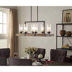 I Love Living Vineyard 6-Light Metal and Wood Chandelier, Black