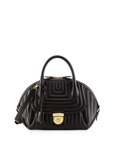 bb5b9061e406 Salvatore Ferragamo Fiamma Ornament Lock Quilted Satchel Bag