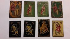 "8x Persian Qajar Playing Cards for Game of ""As Nas"" 