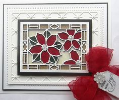 Hi crafters!  Next up is the Poinsettia Stained Glass die. I love using these dies as there are just so many amazing ways to use them.  You can make a super fat card or take your time and paper piece