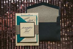 CYNTHIA Suite Glitter Package, elegant wedding invitations, black tie wedding invitations, silver glitter, peacock, teal, navy, ecru, cream, letterpress wedding invitations