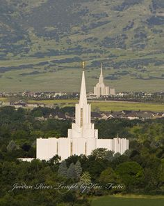 Temples by Ken Fortie.  Jordan River Temple with Oquirrh Mountain Temple.