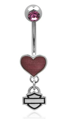 Harley-Davidson® Pink Heart Guilloche .925 Silver Belly Jewel
