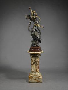 'Puck' - A Finely Cast Parcel-Gilt And Patinated Bronze Figural Group By Luca Madrassi, Raised On a Superb Algerian Onyx Pedestal. France, Circa 1890
