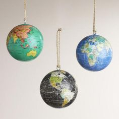 One of my favorite discoveries at WorldMarket.com: Paper Globe Ornaments, Set of 3