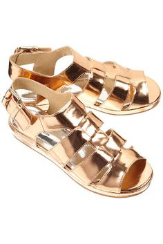 rose gold metallic leather sandals from Topshop (no longer available)