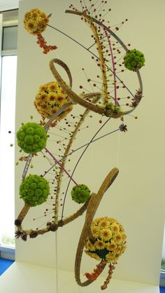 """Stephen McDonnell's """"Firework"""" - Floral design using sculpture technic and artificial materials - beautiful curves, dynamic colors and the valorization of the flowers   chelsea flower show floral design art floral gold medal 2012"""