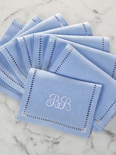 Cool Blue and White cocktail napkins by Julia B.  from Julia B. Custom Linens #taigan