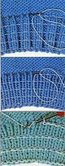 Spanngummi in Strickstücke einnähen -> für elastische Bündchen