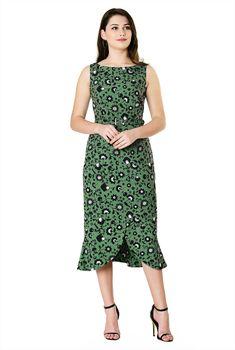 2ba43645a4c509 Above knee length dresses, floral vine print dresses, Front vent dresses,  lightweight