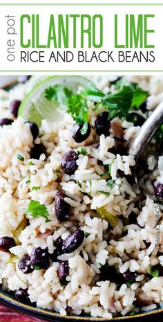 Cilantro Lime Rice and Black Beans (optional) simmered with jalapenos, green chilies and red onion spiked with lime and cilantro for the most satisfying Mexican rice you will want to serve with everything. Easy to dress up with cheese, tomatoes Mexican Food Recipes, New Recipes, Vegetarian Recipes, Dinner Recipes, Healthy Recipes, Beans Recipes, Chicken Recipes, Healthy Black Bean Recipes, Vegan Recipes Plant Based