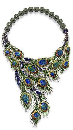 Peacock necklace by Alessio Boschi 2 June 2014 Couture jewelry #PeacockSerendipity #peacock #jewelry