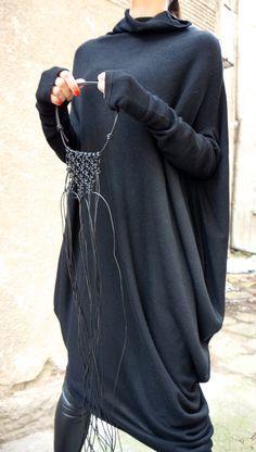 NOUVELLE Oversize ANGORA noir robe Loose / asymétrique Raglan Extra longue tunique manches / entièrement Knit Top / Maxi Blouse Turtle neck Top A02201