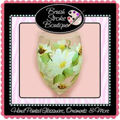 Hand Painted Wine Glass  Daisies and Bees  by BrushStrokeBoutique