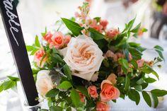 les fleurs : low centerpieces : garden arrangements : wooden boxes : peach, gray & green : tent wedding