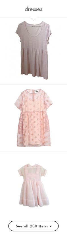 """""""dresses"""" by kim-yerim ❤ liked on Polyvore featuring dresses, tops, shirts, american vintage, smock dress, smocked dresses, pink dress, pink embroidered dress, organza dress and clothing - ss dresses"""