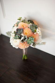 succulent wedding bouquet, white hydrangea, peach dahlias, eucalyptus bouquet, coral white grey silver wedding