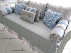 - 2 Almofadas Rolo com ziper c/ refil (0,63x0,60) tecido 100% algodão.  - 3 Almofadas Encosto com ziper c/ refil (0,70x0,50) tecido 100% algodão.  - 1 almofadas 40x60  -2 almofadas 40x40  -1 almofada 30x40  - 1 saia cama  - 1 Colcha Matelassada (2,20 x 1,30) tecido fustão colegial 100% algodão.  ... Sofa, Couch, Baby Boy Nurseries, New Work, Baby Room, Diy Home Decor, Kids Room, Nursery, Furniture
