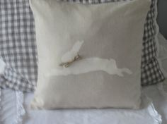 Rustic Bunny  Pillow Cover by BeiFioriEmbellish on Etsy