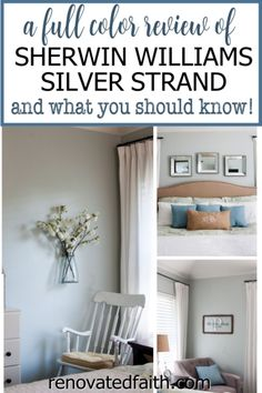 WHAT YOU SHOULD KNOW before painting your bedroom, bathroom or living room this vibrant paint color. Here's a full review along with how to decorate around this dynamic color!So what color is Sherwin Williams Silver Strand? A Joanna Gaines top pick, this gray has gorgeous blue and green undertones so it's important to know how to decorate & what colors go with Sherwin Williams Silver Strand. Included are SWSS paint strip comparisons (vs. Sea Salt). Diy Curtain Rods, Diy Curtains, Furniture Projects, Diy Furniture, Diy Projects, Furniture Makeover, Home Renovation, Sherwin Williams Silver Strand, Diy Décoration
