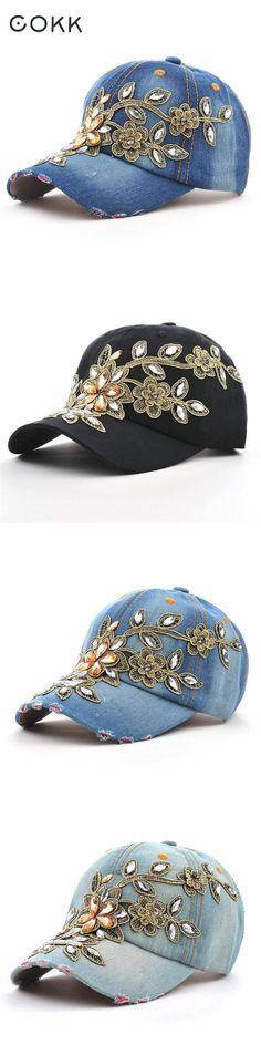 8786a33711b COKK Women s Baseball Cap Diamond Painting Embroidery Flower Denim Snapback  Hats Jeans Woman Female Cap Cowboy Summer Sun Hat