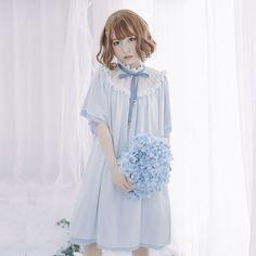 Endlosen Sommer Lose Kurze Chiffon Kleid Süße Short Bat Flügel Hülsen-beiläufige Mori Mädchen Kleid durch Dolly Delly