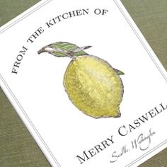 Custom Bookplate with Lemon Motif for Cooks, Labels, or Kitchen Libraries. $22.00, via Etsy.