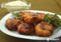 Gombás burgonyakrokett sajtmártással Paella, Baked Potato, Food And Drink, Potatoes, Dishes, Chicken, Meat, Baking, Ethnic Recipes