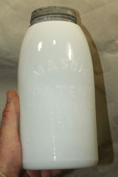 RARE!! WHITE MILK GLASS MASON'S PATENT NOV 30 TH 1858 FRUIT JAR HALF GALLON