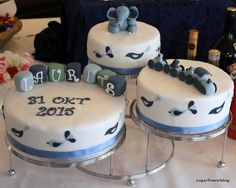 Cake decorating ideas for a baby boy christening cake with fondant elephant, train and name blocks. Baby Boy Christening Cake, Dedication Cake, Fondant Elephant, Cakes For Boys, Cake Decorating, Decorating Ideas, Baby Girl Newborn, Trains, Birthday Ideas