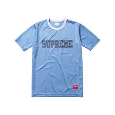 Supreme: Mesh Crewneck - Light Blue ($68.00) ❤ liked on Polyvore featuring tops, t-shirts, shirts, tees, blue t shirt, mesh tee, crew neck t shirt, light blue shirt and tee-shirt